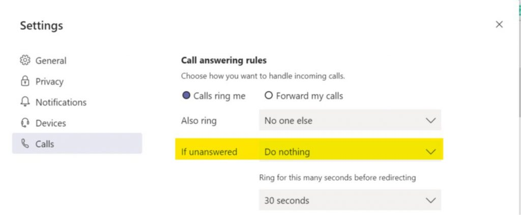 PSTN call settings in Microsoft Teams