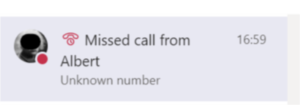 Missed call in Microsoft Teams activity feed
