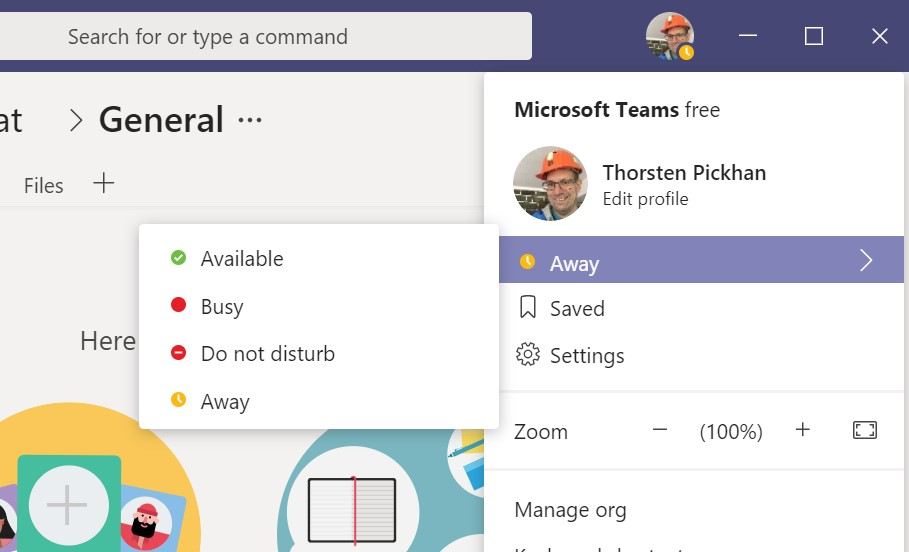 Presence status in Microsoft Teams
