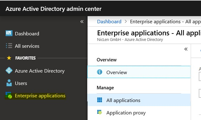 Azure AD Portal Enterprise apps