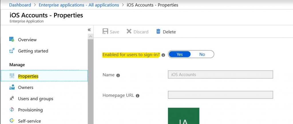 Azure AD - Properties iOS Accounts app