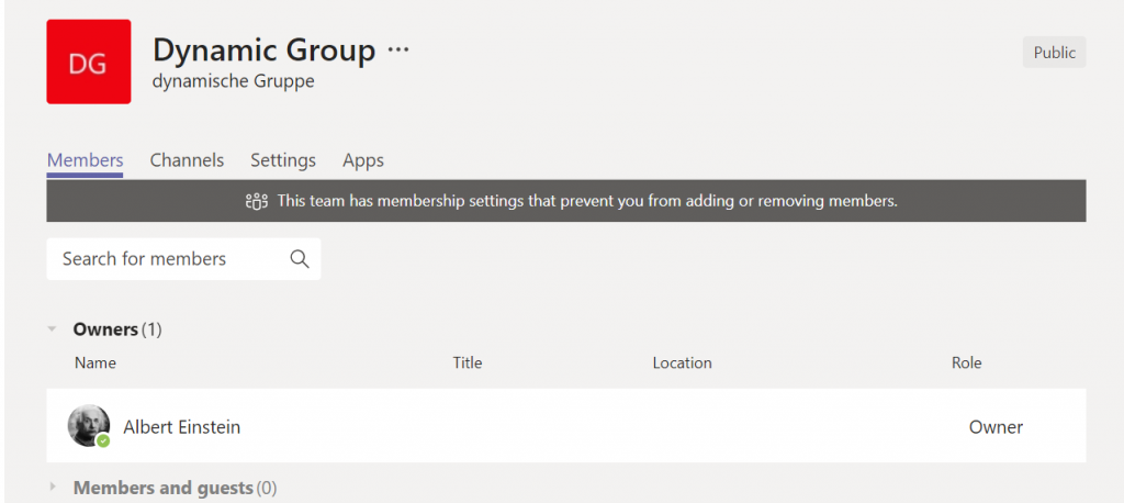 Dynamic Microsoft Teams - Office 365 dynamic group prevents management of Microsoft Teams membership