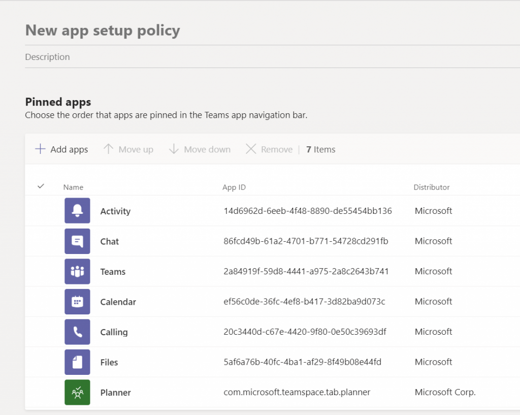 Customize Microsoft Teams app bar - Create a new policy