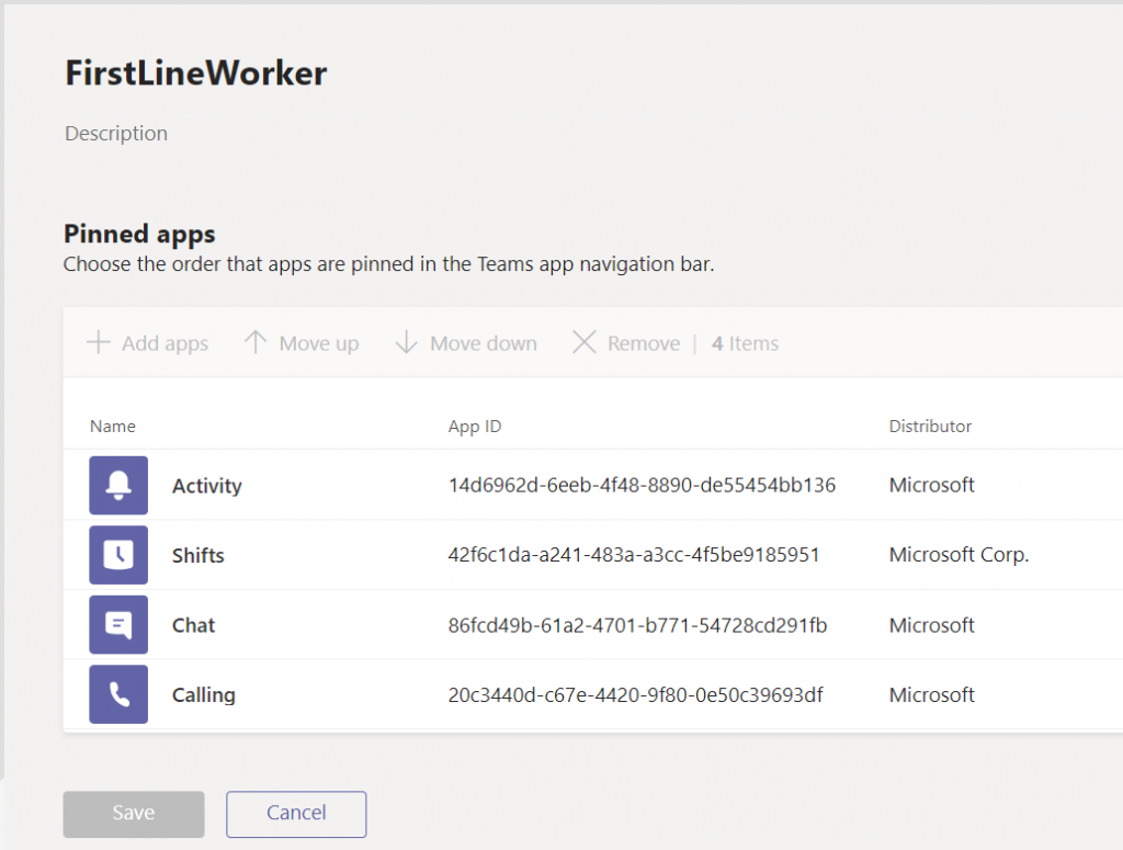 Customize Microsoft Teams app bar - First Line Worker policy