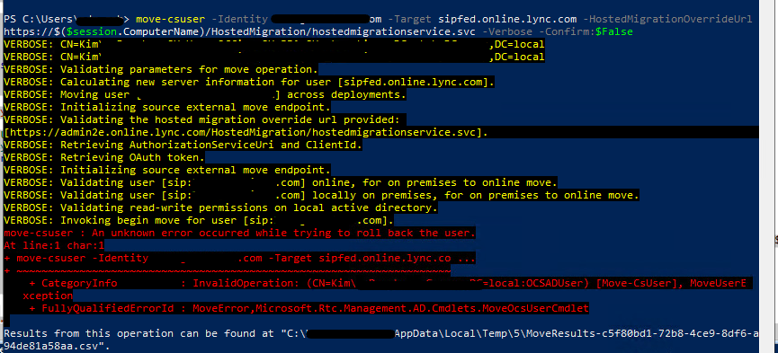 Error message while SfB user migration to Teams