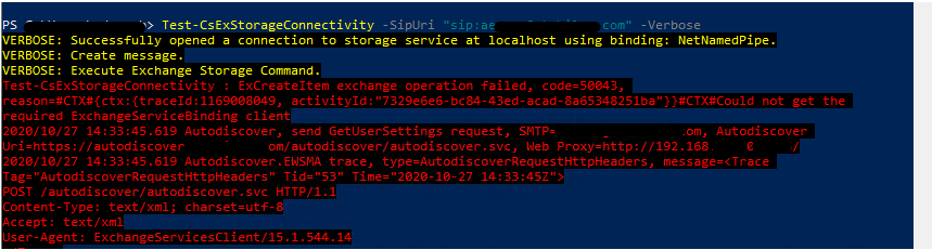 Error in testing Exchange connectivity from Skype for Business server