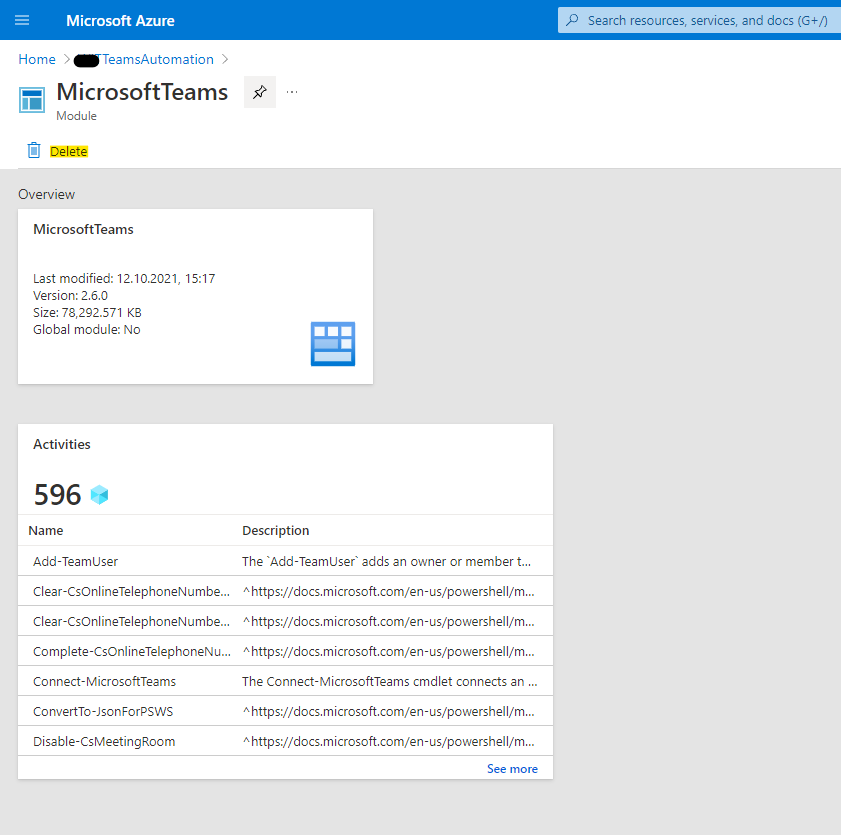 Delete the current Microsoft Teams PowerShell module in the Azure Automation Account